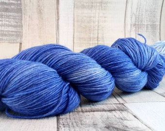 Hand dyed sock yarn in 100g strand for crochet and knitting color 003 blue