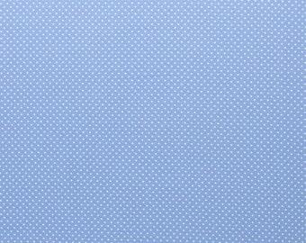 100% cotton weaving, 0.5 meters, fabrics, blue with white dots, patchwork, meterware, ÖkoTex