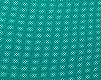 100% cotton weaving, 0.5 meters, fabrics, green with white dots, patchwork, meterware, ÖkoTex