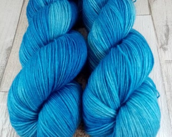 Hand dyed sock yarn in 100g strand color 043 blue