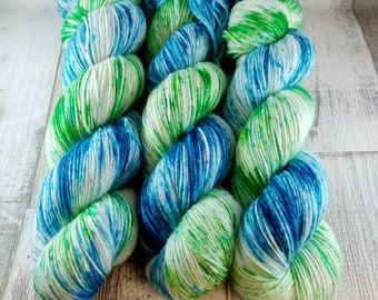 Hand dyed sock yarn with merino and bamboo color 018
