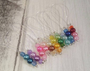 10 stitch markers in set for hanging beads
