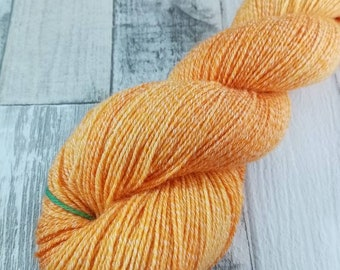 Hand dyed sock yarn with cotton color 075 organge