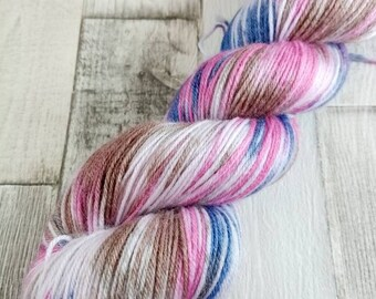 Hand dyed sock yarn in 100g strand merino bamboo for crochet and knitting color 044
