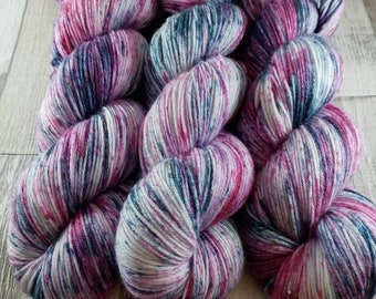 Hand dyed sock yarn in 100g strand merino bamboo for crochet and knitting color 085