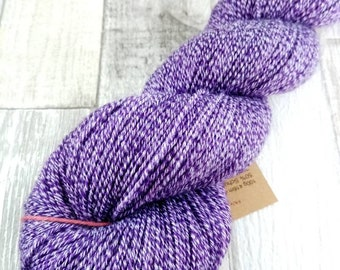 Hand dyed sock yarn with cotton color 070 purple