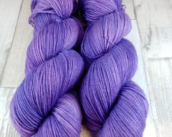 Hand dyed sock yarn in 100g strand color 060 purple
