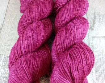 Hand dyed sock yarn in 100g strand color 049 berry