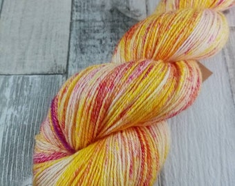 Hand dyed sock yarn with cotton color 105