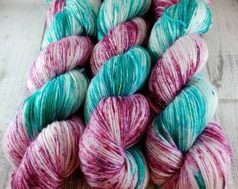 Hand dyed sock yarn with merino and bamboo color 021