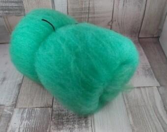 50g Batt 100% Schafwolle vom Suffokschaf zum spinnen und filzen grün