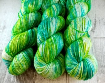 Hand dyed sock yarn with merino and bamboo color 029