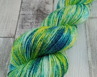 Hand dyed sock yarn with cotton color 110