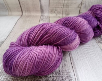 Hand dyed sock yarn in 100g strand for crochet and knitting color 014 purple