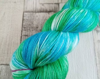 Hand dyed sock yarn in 100g strand merino bamboo for crochet and knitting color 082
