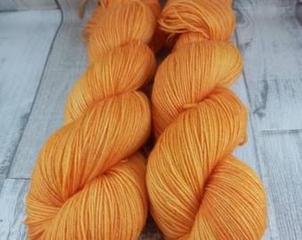 Hand dyed sock yarn in 100g strand color 059 Orange