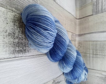 Hand dyed sock yarn in 100g strand for crochet and knitting color 030 blue