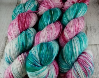 Hand dyed sock yarn in 100g strand for crochet and knitting color 010