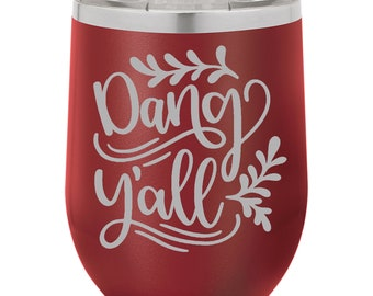 Personalized Engraved Stemless Wine Tumblers  - 12 oz