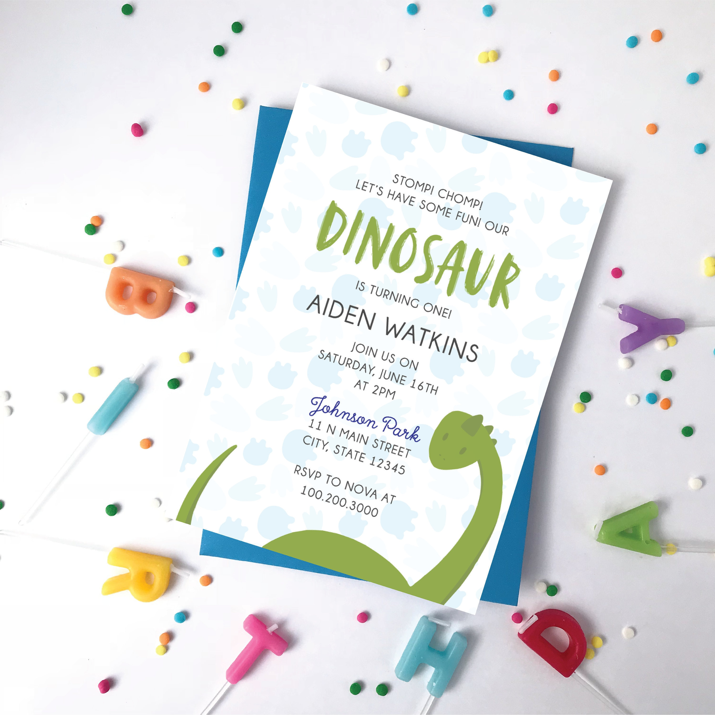 Kids Dinosaur Birthday Invitation One Year Old Boy Or Girl
