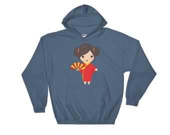 China Doll Hooded Sweatshirt - Chinadoll - Chinese Girl - Gift For Her - Asian