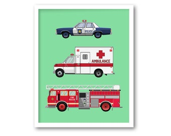 Modern boys wall art Vehicle print Girls room decor Car print for kids Boy nursery decor INSTANT DOWNLOAD Rescue truck Emergency vehicles