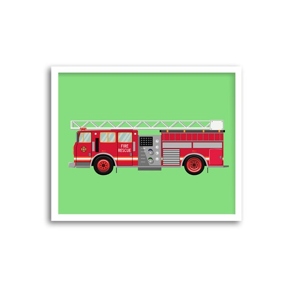 Fire Truck Printable Fire Engine Toddler Room Decor Kid Etsy