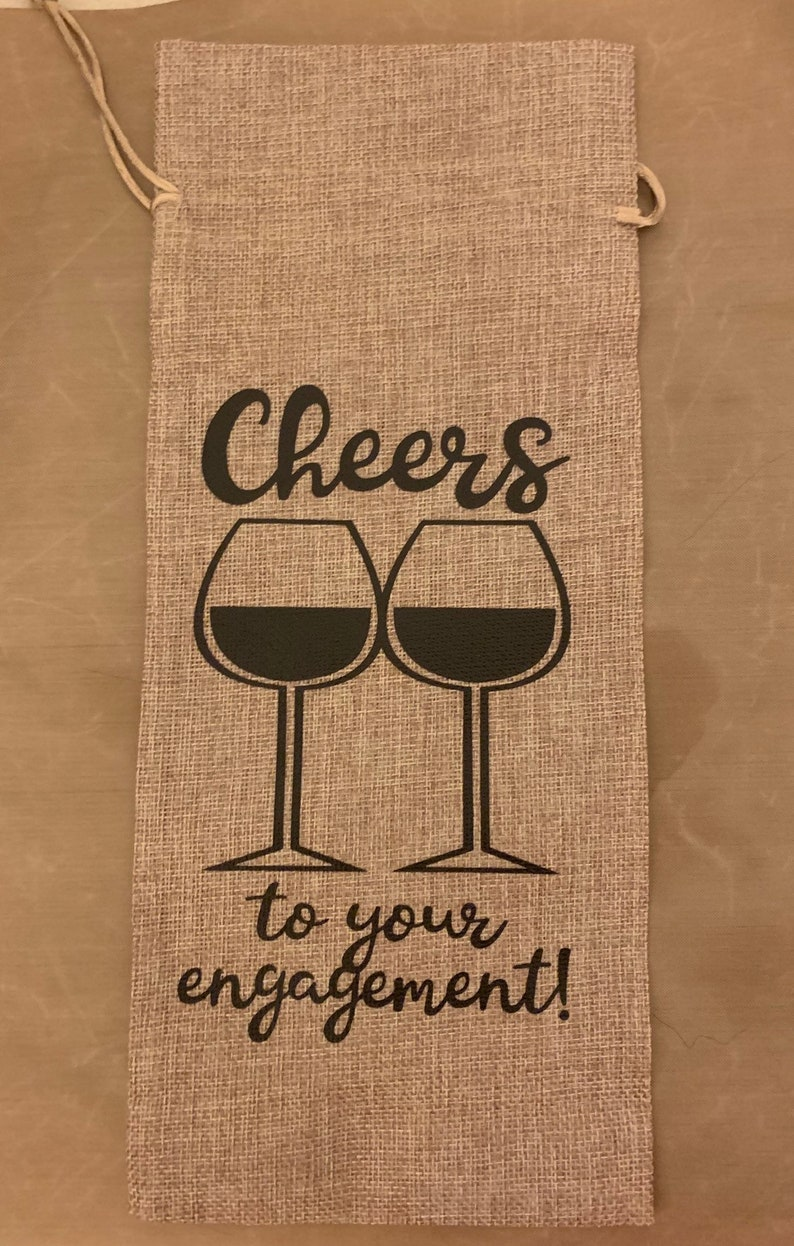 Cheers to Your Engagement! Burlap Wine Gift Bag
