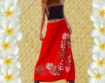 Vintage 1970s - MISS SHAHEEN - Red Skirt with Floral Detail - Size 12