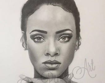 Rihanna Original Graphite Drawing