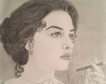 Kate Winslet as Rose in Titanic Original Graphite Drawing