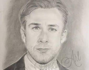 Ryan Gosling Original Graphite Drawing