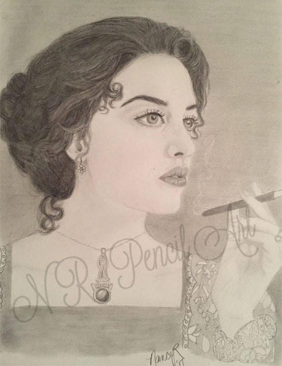 Rose in Titanic Original Drawing of Kate Winslet in Graphite