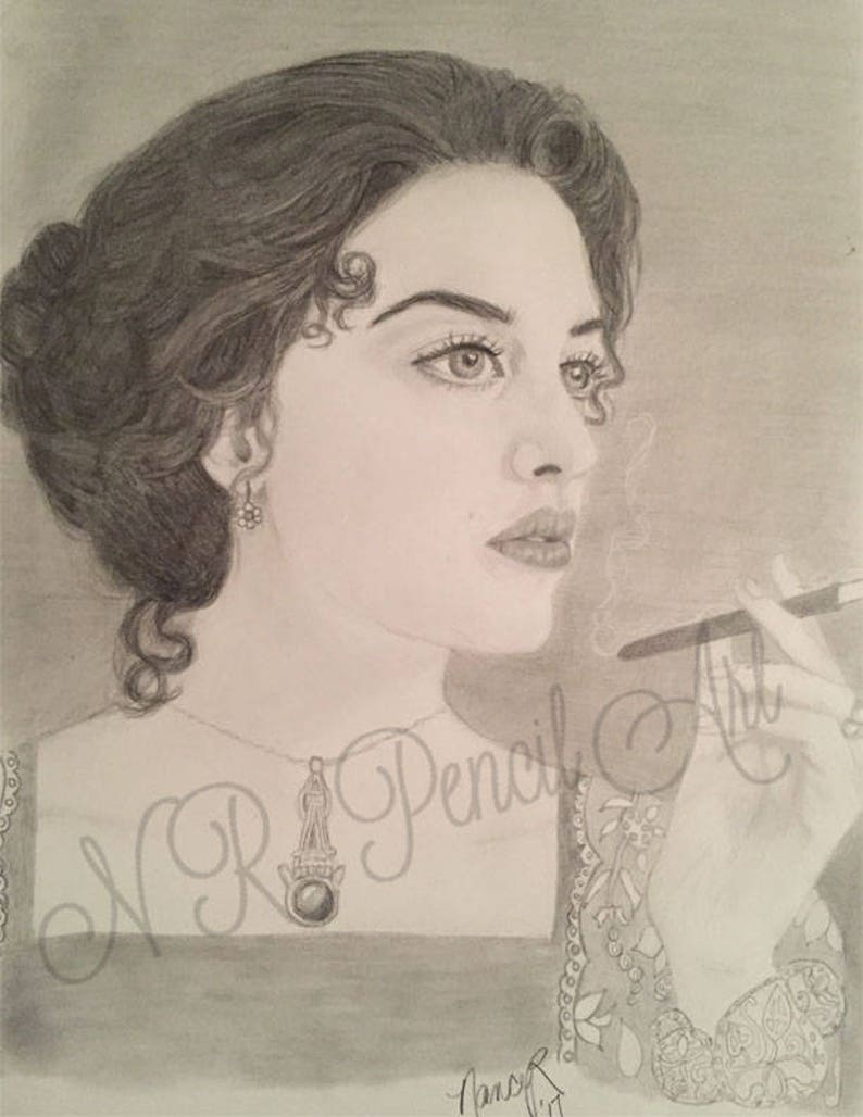 Kate Winslet As Rose In Titanic Original Graphite Drawing Etsy