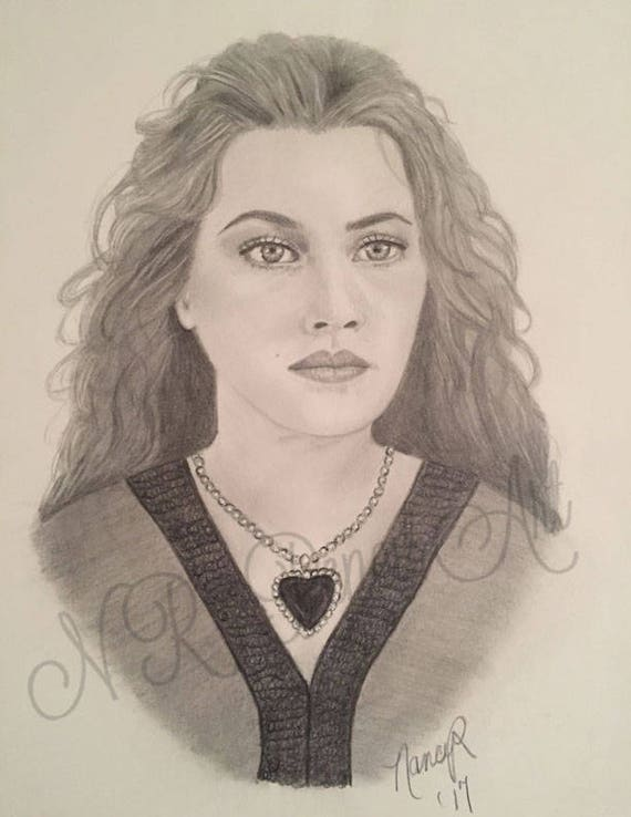 Rose In Titanic Original Drawing Of Kate Winslet In Graphite Etsy