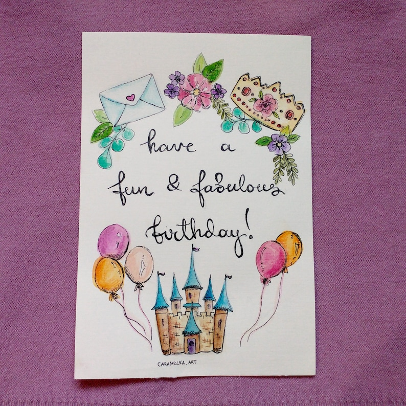 image relating to Printable Children's Birthday Cards referred to as Delighted birthday card Social gathering card Childrens birthday Watercolor artwork Watercolor card Castle Printable birthday card Hand lettered card