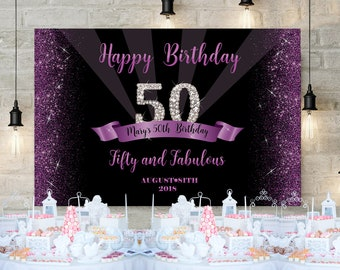 50th Birthday Party Backdrop Royal Purple And Silver Decor Black Gold Fifty Fabulous Decoration Banner DIGITAL ITEM Backd3