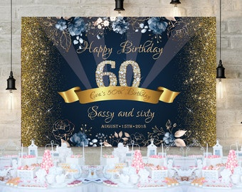 50th Birthday Party Backdrop Decor Navy And Gold Sassy Sixty 60th Decoration Banner Adult 30th Any Age Digital Backdrop9
