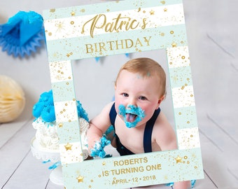 Mint and Gold Photo Prop for Boy Template, Printable Birthday Photo Prop Frame, 1st, First Birthday Photo Booth, PhotoProp8