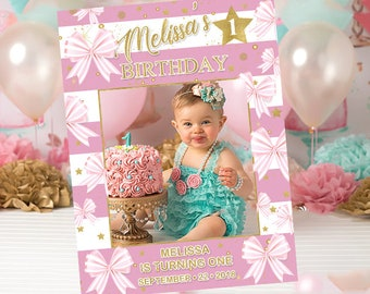 Bow with Pink and White Stripes and Gold Photo Prop Template, Printable Birthday Photo Prop Frame, First Birthday Photo Booth, Birthday26