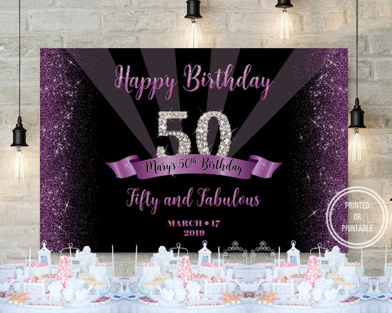 50th Birthday Party Backdrop Royal Purple Purple And Silver Party Decoration Customize Printed Backdrop 3