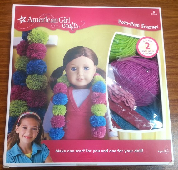 American Girl Crafts Pom Pom Scarves Kit Gift Diy Doll Scarves Poms Yarn Scarf