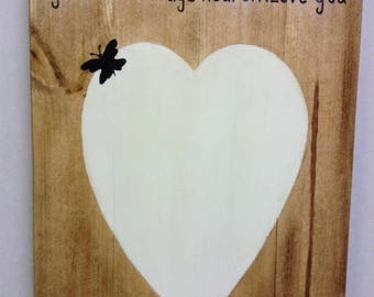 Handcrafted Heart Picture-Rustic Painting-Gift For Mum-Heart Picture-Butterfly Picture-Personalised Pictue-