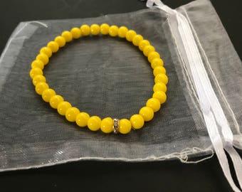"""Yellow stretch bracelet; 7.5""""  stretch bracelet"""