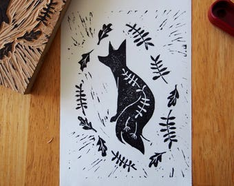 Limited Edition Fox linocut