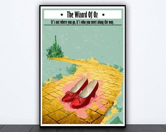 Wizard of Oz inspired alternative poster,  judy garland poster, yellow brick road, emerald city print, wicked witch, wizard of oz poster