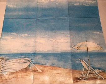 Two (2) New Guest Size Beach Boat Water Beachchair Umbrella for Decoupage, Paper Crafts