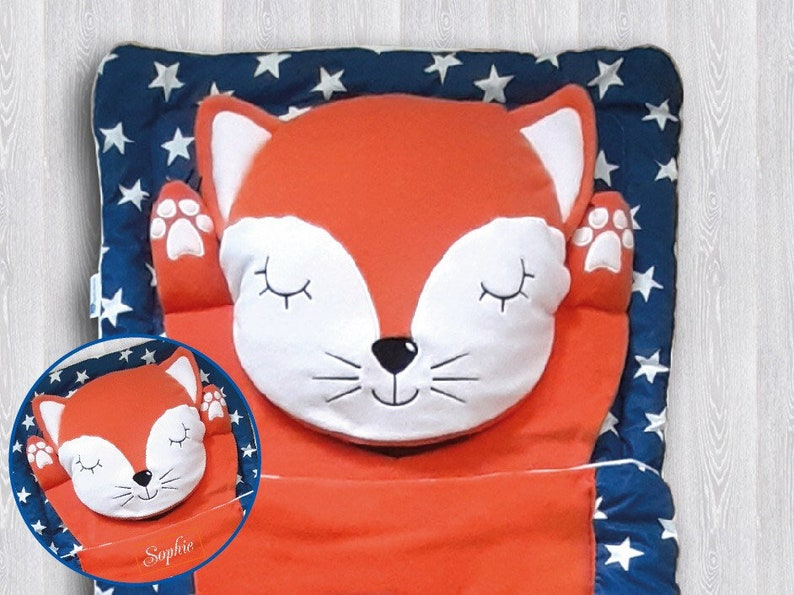Personalized kids sleeping bag Traveling kids sack Fox Baby image 0