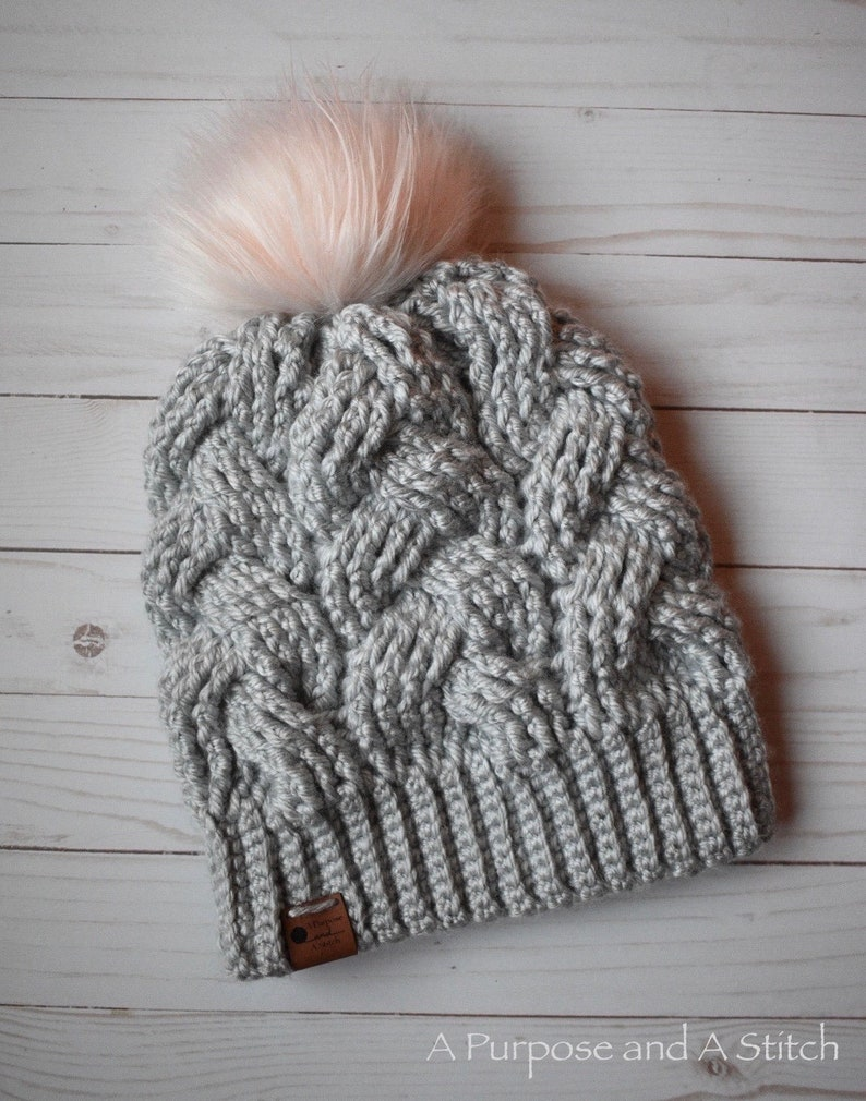 Adult Sized Brilliant Cables Beanie Crochet Pattern PDF Pattern