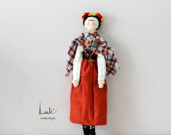 Frida Doll, Rag doll, handmade doll, cloth doll, collectible doll, gift doll, rag Frida, cloth doll